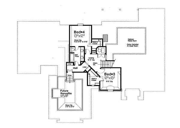 European Floor Plan - Upper Floor Plan #310-697