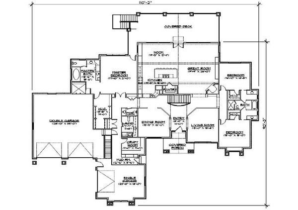 Craftsman Floor Plan - Main Floor Plan Plan #5-345