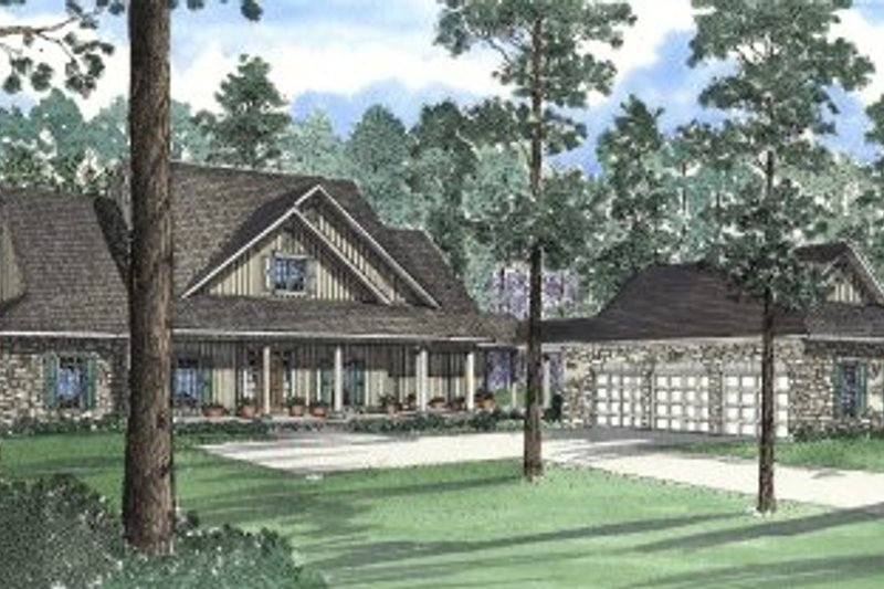 Southern Style House Plan - 5 Beds 3 Baths 4131 Sq/Ft Plan #17-2004 Exterior - Front Elevation