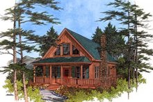 Dream House Plan - Cabin Exterior - Front Elevation Plan #56-133