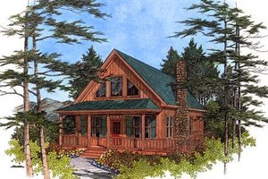 House Design - Cabin Exterior - Front Elevation Plan #56-133