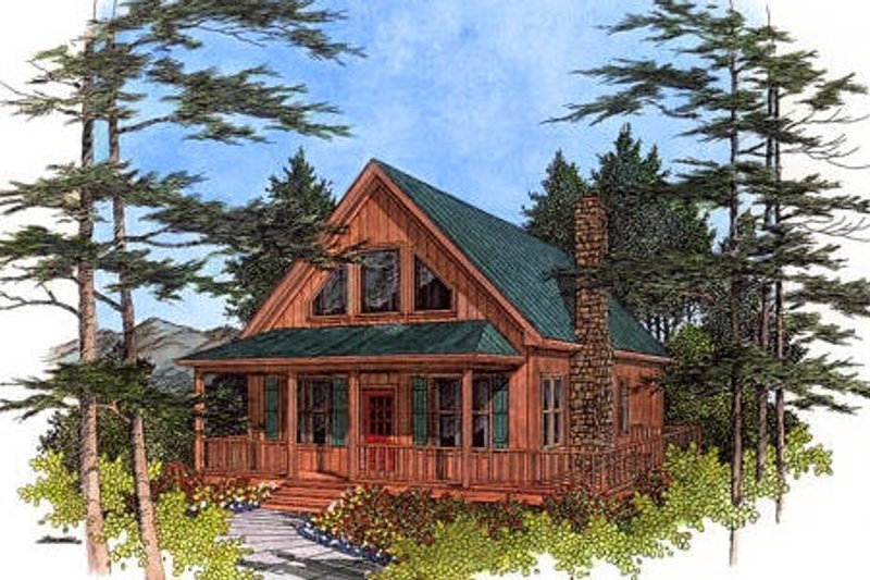 Cabin Style House Plan - 2 Beds 1 Baths 1647 Sq/Ft Plan #56-133 Exterior - Front Elevation