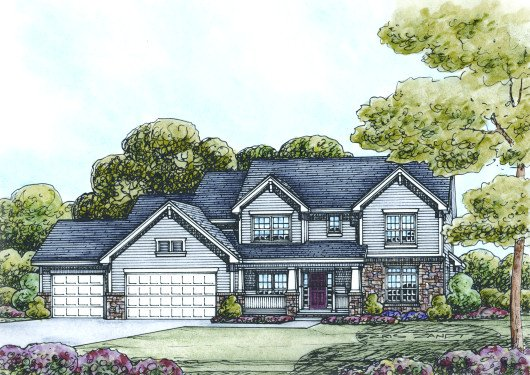 Craftsman Exterior - Front Elevation Plan #20-2122