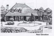 Colonial Style House Plan - 4 Beds 3.5 Baths 4000 Sq/Ft Plan #310-950 Exterior - Rear Elevation