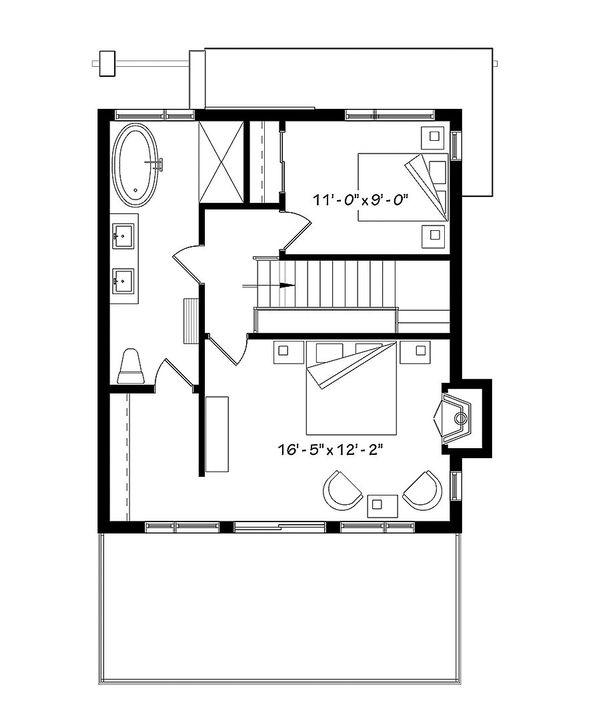 Contemporary Floor Plan - Upper Floor Plan #23-2660