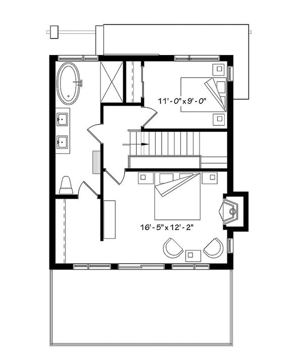 Contemporary Floor Plan - Upper Floor Plan Plan #23-2660
