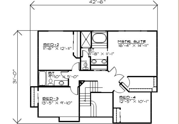Traditional Floor Plan - Upper Floor Plan Plan #308-124