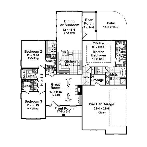 Craftsman Floor Plan - Main Floor Plan Plan #21-212