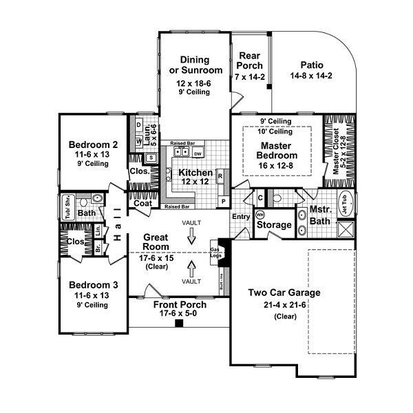 Craftsman Floor Plan - Main Floor Plan Plan #21-212