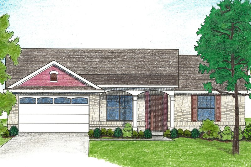 Ranch Style House Plan - 4 Beds 2 Baths 1296 Sq/Ft Plan #80-102 Exterior - Front Elevation