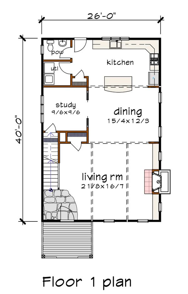 Dream House Plan - Contemporary Floor Plan - Main Floor Plan #79-316