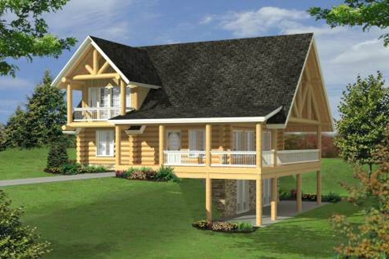 Log Style House Plan - 3 Beds 3 Baths 2750 Sq/Ft Plan #117-556 Exterior - Front Elevation