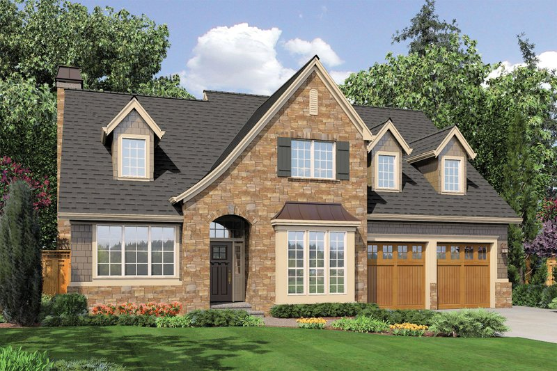 European Style House Plan - 4 Beds 2.5 Baths 2401 Sq/Ft Plan #48-459 Exterior - Front Elevation