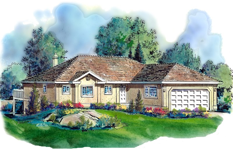 Ranch Style House Plan - 2 Beds 2 Baths 1477 Sq/Ft Plan #18-105 Exterior - Front Elevation