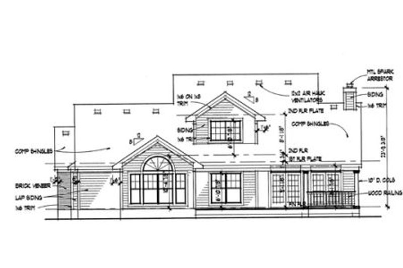 Southern Exterior - Rear Elevation Plan #120-138 - Houseplans.com