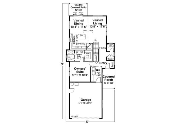 House Plan Design - Craftsman Floor Plan - Main Floor Plan #124-1213