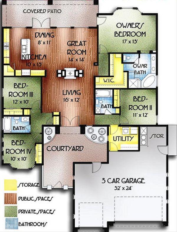 Mediterranean Floor Plan - Main Floor Plan Plan #24-235