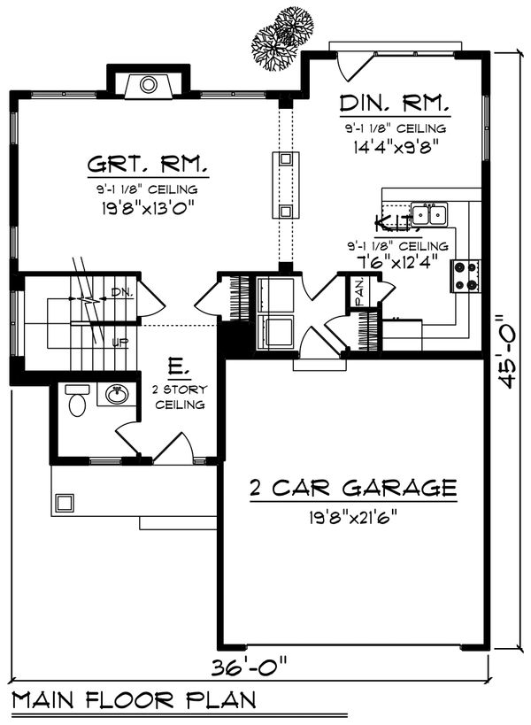 Craftsman Floor Plan - Main Floor Plan Plan #70-1210