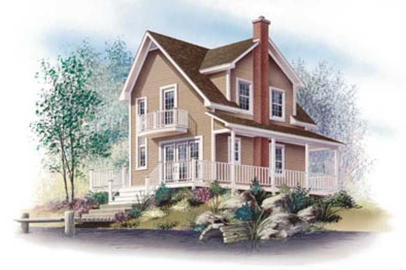 Cottage Style House Plan - 3 Beds 1 Baths 1002 Sq/Ft Plan #23-2043 Exterior - Front Elevation