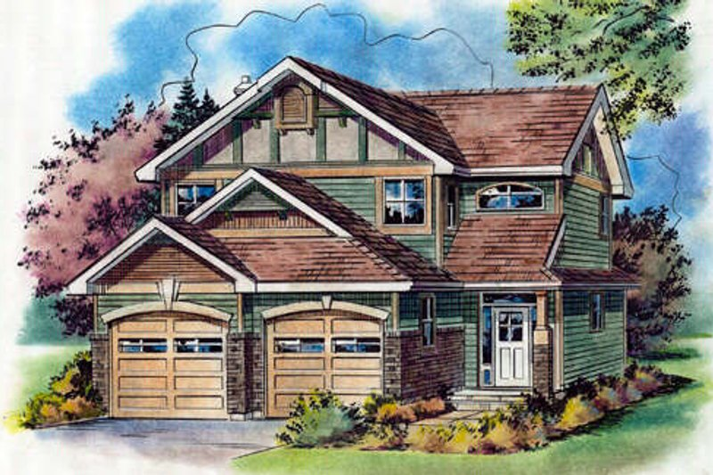 Tudor Style House Plan - 3 Beds 3 Baths 1697 Sq/Ft Plan #18-4514 Exterior - Front Elevation