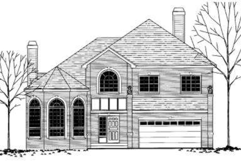 European Style House Plan - 4 Beds 3 Baths 2664 Sq/Ft Plan #303-341 Exterior - Front Elevation