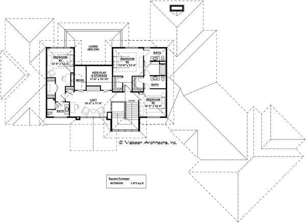 Contemporary Floor Plan - Upper Floor Plan #928-287