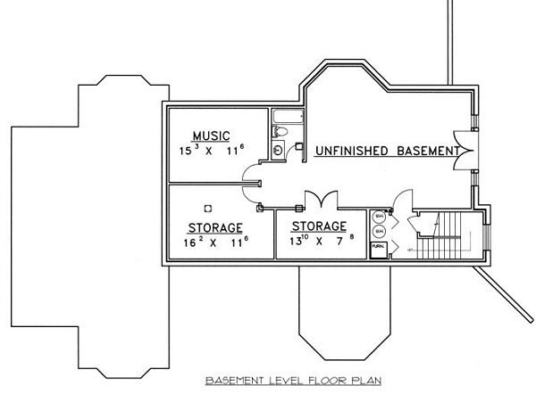 European Floor Plan - Lower Floor Plan #117-537