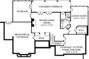 European Style House Plan - 5 Beds 4.5 Baths 4227 Sq/Ft Plan #453-35 Floor Plan - Lower Floor Plan