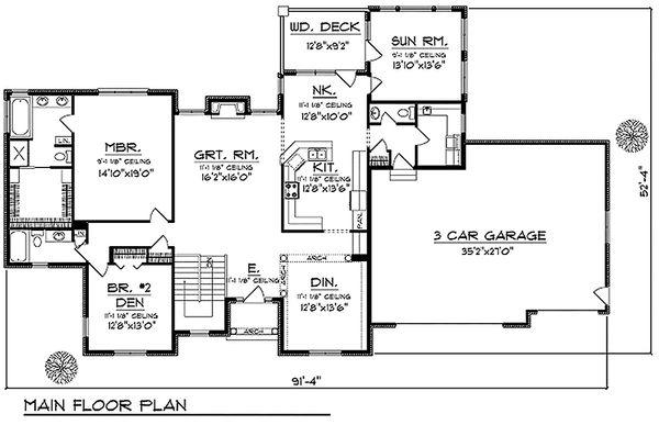 Traditional Floor Plan - Main Floor Plan Plan #70-620