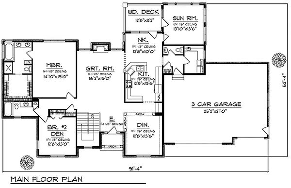 Traditional Floor Plan - Main Floor Plan Plan #70-620