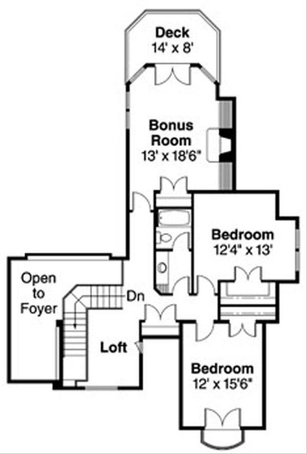 European Floor Plan - Upper Floor Plan Plan #124-722