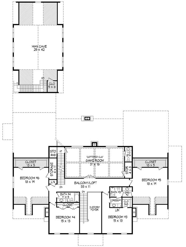 Colonial Floor Plan - Upper Floor Plan Plan #932-1