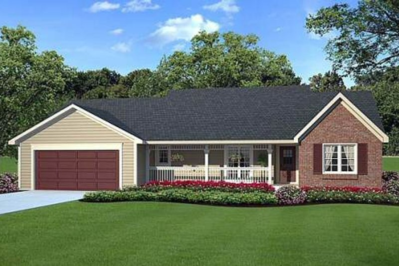 Ranch Style House Plan - 3 Beds 2 Baths 1575 Sq/Ft Plan #312-271 Exterior - Front Elevation
