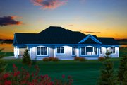 Ranch Style House Plan - 3 Beds 2.5 Baths 2080 Sq/Ft Plan #70-1134 Exterior - Rear Elevation