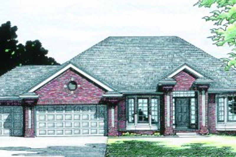 Traditional Style House Plan - 4 Beds 3.5 Baths 2317 Sq/Ft Plan #20-143 Exterior - Front Elevation