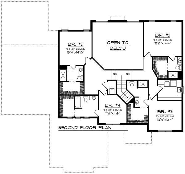 Modern Floor Plan - Upper Floor Plan #70-1290
