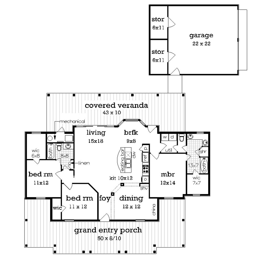 cottage style house plan 3 beds 2 baths 1516 sq ft plan 45 378