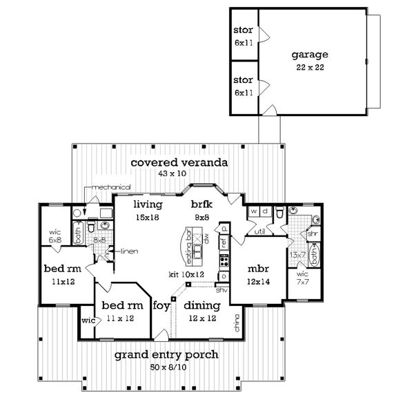 Cottage Floor Plan - Main Floor Plan Plan #45-378