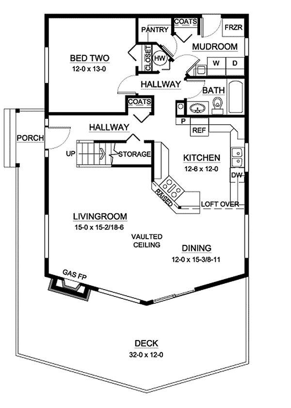 Cabin design house plan, Mountain style, main level floor plan