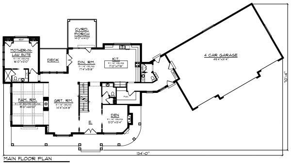 Country Floor Plan - Main Floor Plan Plan #70-1488