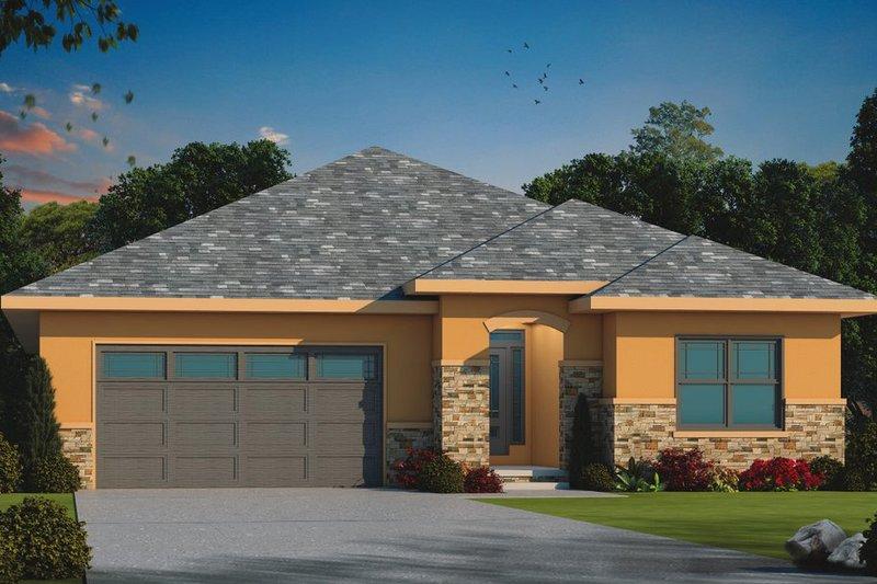 Dream House Plan - Mediterranean Exterior - Front Elevation Plan #20-2438