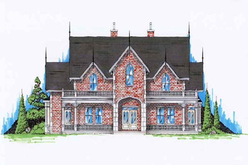 Victorian Style House Plan - 5 Beds 5.5 Baths 4811 Sq/Ft Plan #5-441 Exterior - Front Elevation