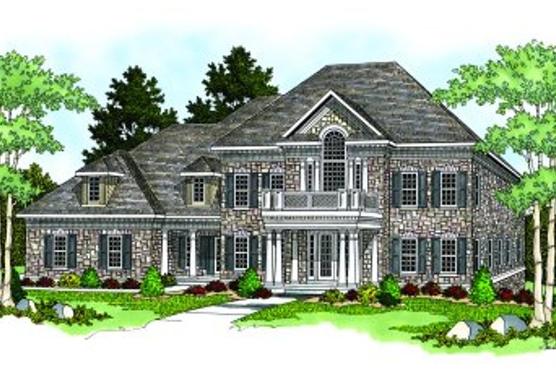 Southern Style House Plan - 4 Beds 4.5 Baths 4752 Sq/Ft Plan #70-552 Exterior - Front Elevation