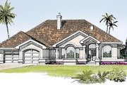Mediterranean Style House Plan - 3 Beds 2.5 Baths 2257 Sq/Ft Plan #47-418 Exterior - Front Elevation