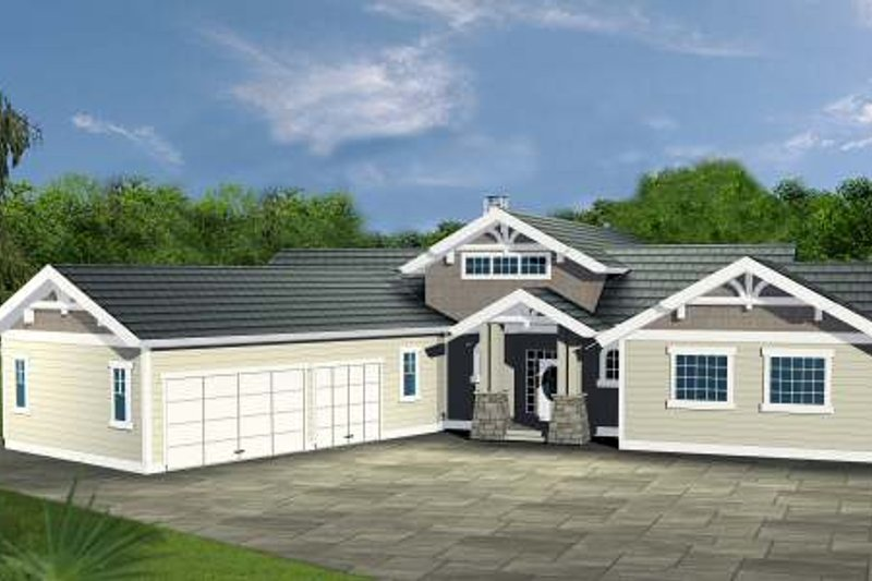 Home Plan - Bungalow Exterior - Front Elevation Plan #117-574