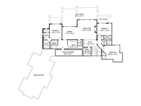 Modern Floor Plan - Lower Floor Plan Plan #920-89