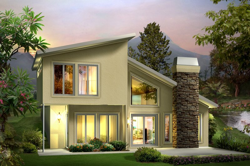 Contemporary Style House Plan - 2 Beds 1.5 Baths 1105 Sq/Ft Plan #57-626 Exterior - Front Elevation
