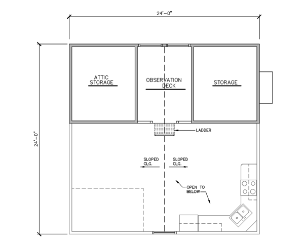 Architectural House Design - Cabin Floor Plan - Upper Floor Plan #123-115