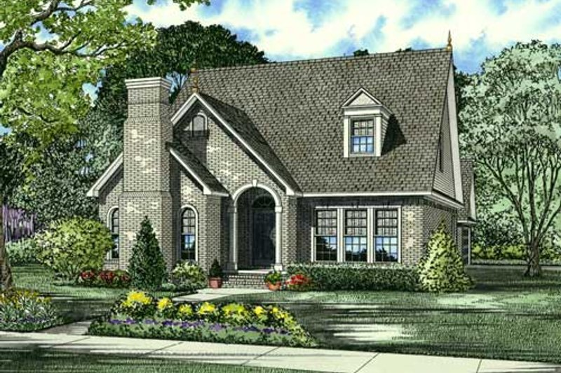 European Style House Plan - 3 Beds 2.5 Baths 2135 Sq/Ft Plan #17-640 Exterior - Front Elevation