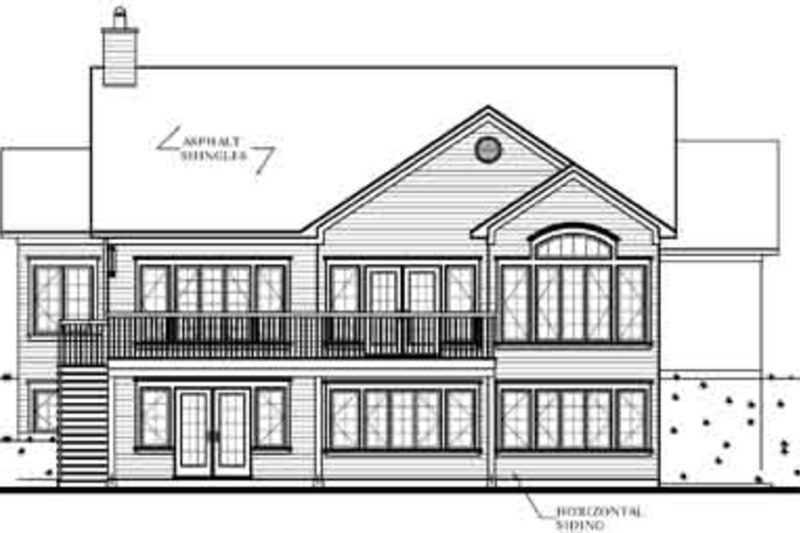 Traditional Exterior - Rear Elevation Plan #23-2068 - Houseplans.com